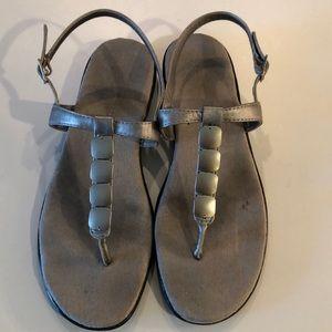 Aerosoles silver sandals with heel strap